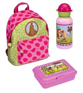 Spiegelburg Mini-Rucksack Mein kleiner Ponyhof 3tlg. Set mit Brotdose und Alu-Trinkflasche z.B. für den Kindergarten 12020